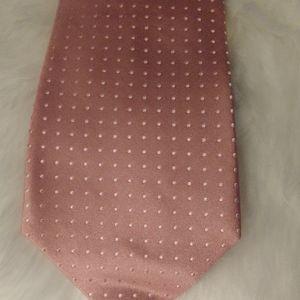 Burma Bibas 100% Silk Satin Pink Pin Dot Tie